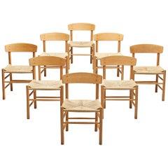 Børge Mogensen Set of Eight Dining Chairs Model 'J39'