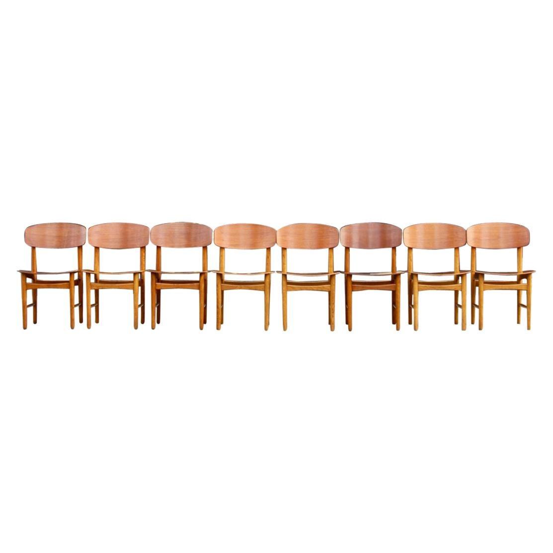 Børge Mogensen Set of Eight Teak and Oak Model #156 Chairs