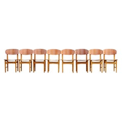 Børge Mogensen Set of Eight Teak and Oak Model #156 Chairs