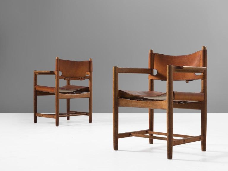 Scandinavian Modern Børge Mogensen Set of Four '3238' Armchairs in Oak and Cognac Leather For Sale