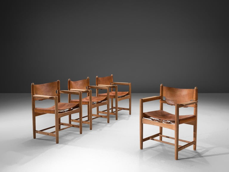 Mid-Century Modern Børge Mogensen Set of Four '3238' Armchairs in Oak and Cognac Leather For Sale