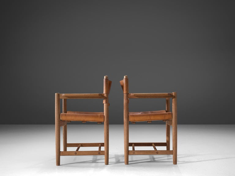 Danish Børge Mogensen Set of Four '3238' Armchairs in Oak and Cognac Leather For Sale