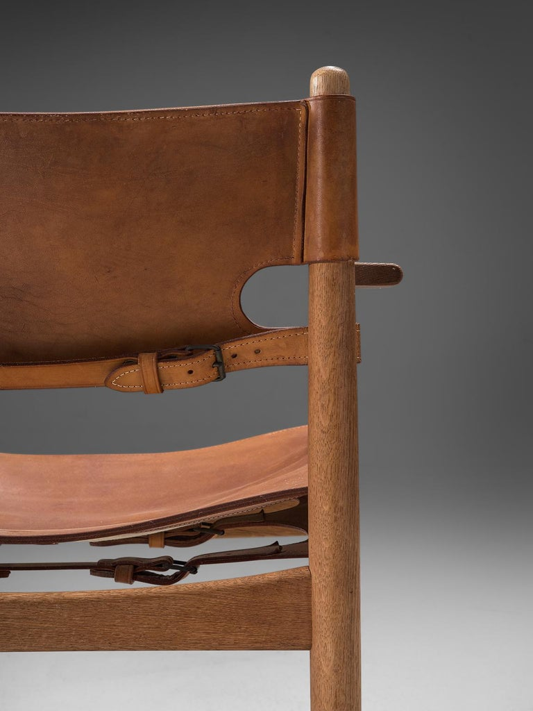 Mid-20th Century Børge Mogensen Set of Four '3238' Armchairs in Oak and Cognac Leather For Sale