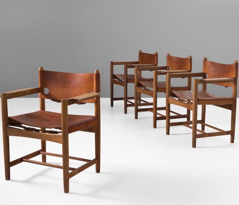 Børge Mogensen Set of Four '3238' Armchairs in Oak and Cognac Leather For Sale 2