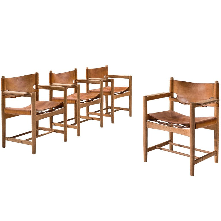 Børge Mogensen Set of Four '3238' Armchairs in Oak and Cognac Leather For Sale