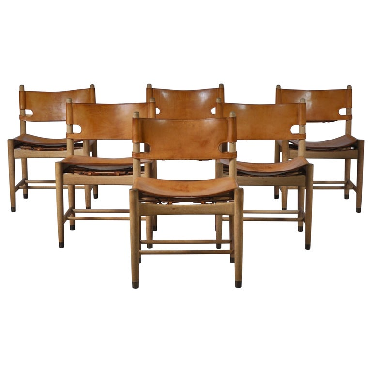 """Børge Mogensen Set of Oak and Leather """"Spanish"""" Dining Chairs Model BM3237 For Sale"""
