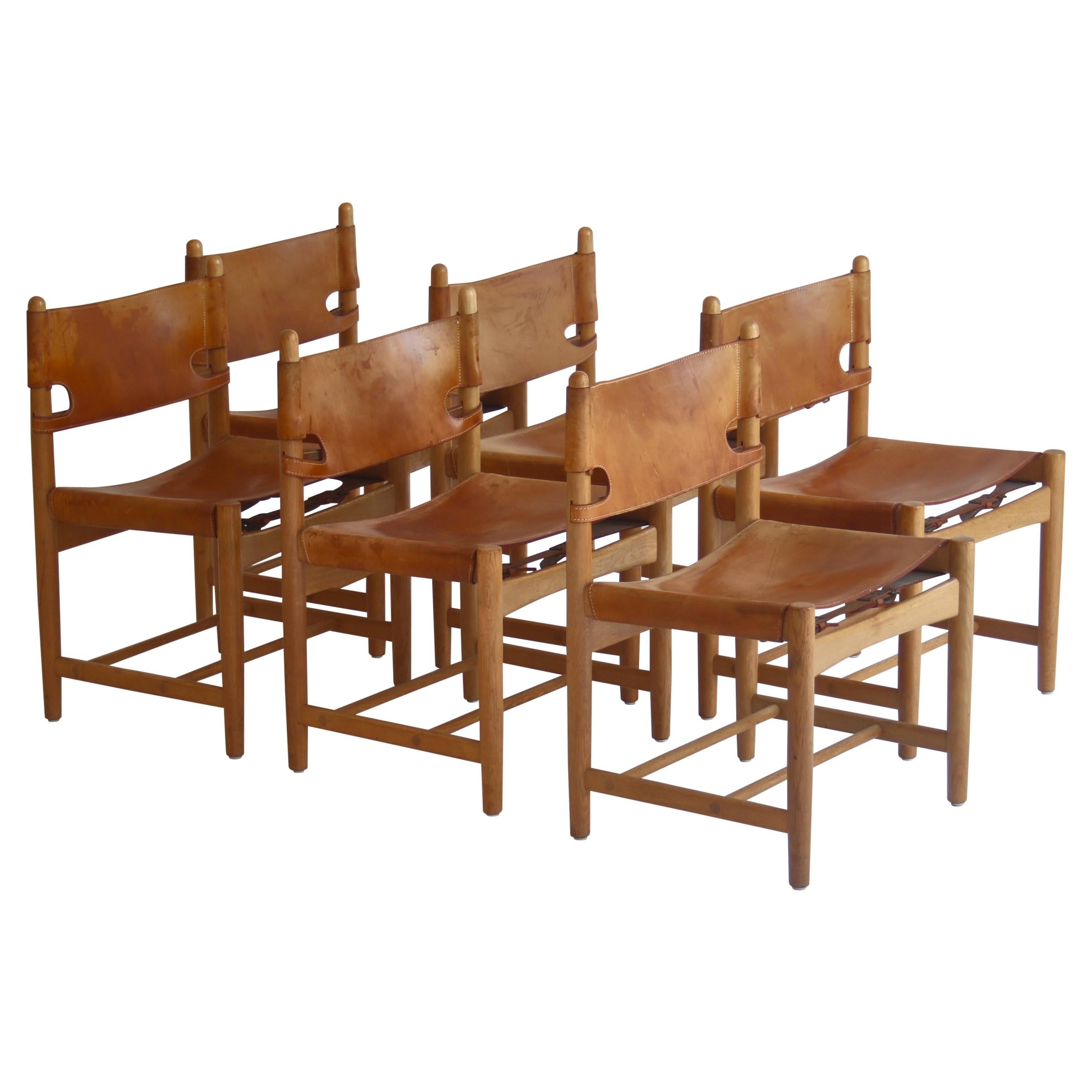 "Børge Mogensen Set of Oak and Leather ""Spanish"" Dining Chairs Model BM3237"