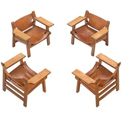 Børge Mogensen Set of 'Spanish Chairs,' with Patinated Cognac Leather