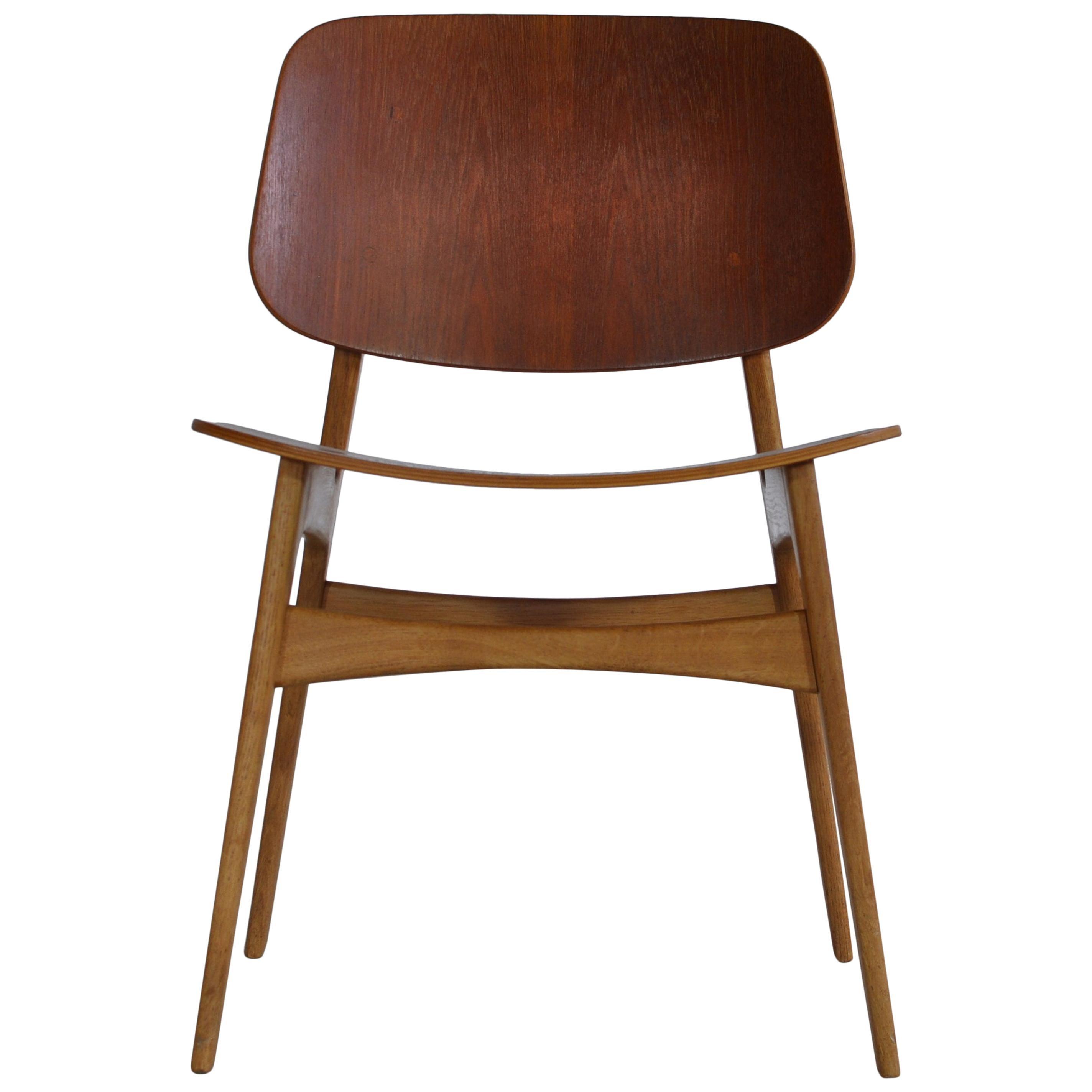 Børge Mogensen Side Chair in Teak and Oak by Søborg Møbelfabrik in the 1950s