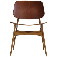 Børge Mogensen Side Chair in Teak and Oak by Søborg Møbelfabrik in the 1950s