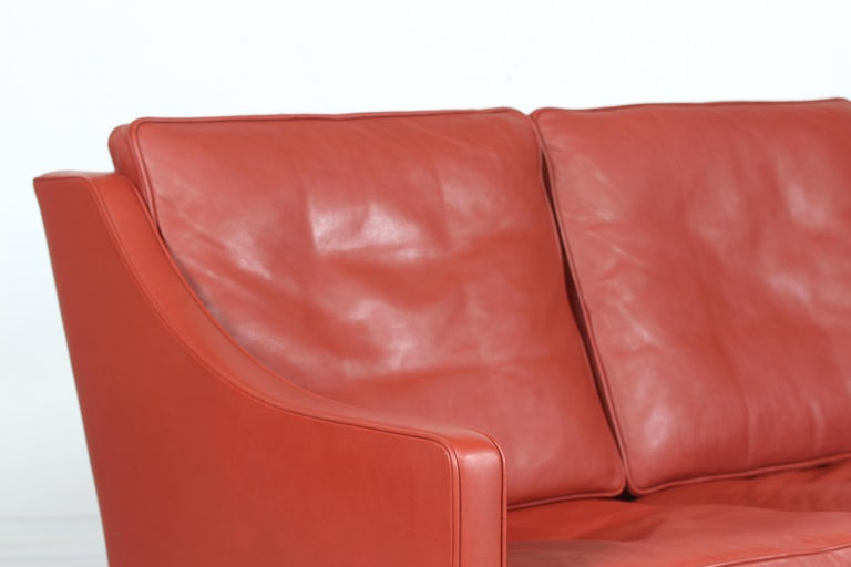 Mid-Century Modern Børge Mogensen Sofa 2208 with Red Brown Leather by Fredericia Stolefabrik For Sale