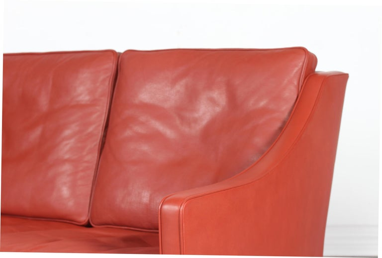 Late 20th Century Børge Mogensen Sofa 2208 with Red Brown Leather by Fredericia Stolefabrik For Sale