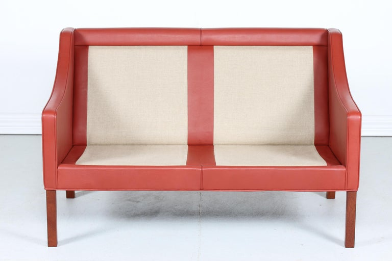 Børge Mogensen Sofa 2208 with Red Brown Leather by Fredericia Stolefabrik For Sale 1