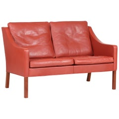 Børge Mogensen Sofa 2208 with Red Brown Leather by Fredericia Stolefabrik