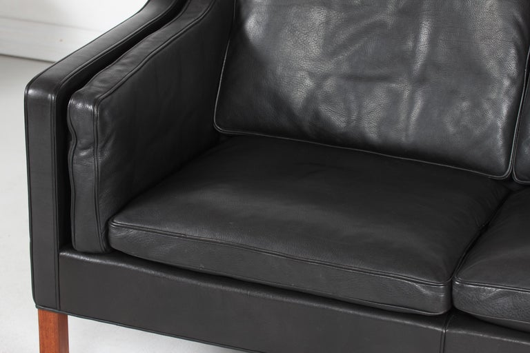 Mid-Century Modern Børge Mogensen Sofa 2212 with Black Leather by Fredericia Stolefabrik, 1981 For Sale