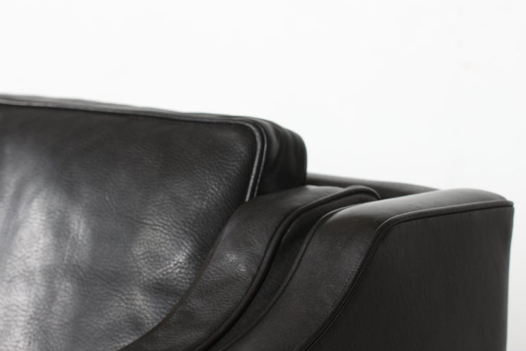 Danish Børge Mogensen Sofa 2212 with Black Leather by Fredericia Stolefabrik, 1981 For Sale