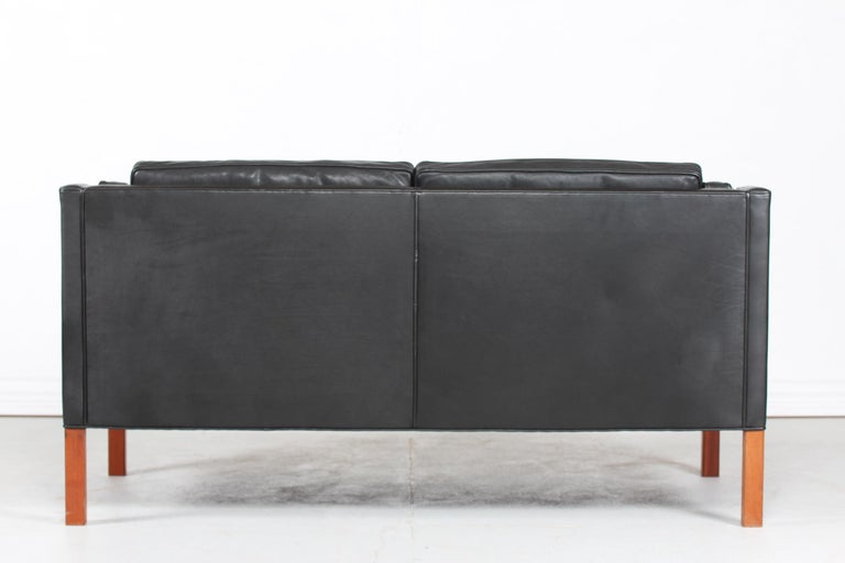 Børge Mogensen Sofa 2212 with Black Leather by Fredericia Stolefabrik, 1981 For Sale 1
