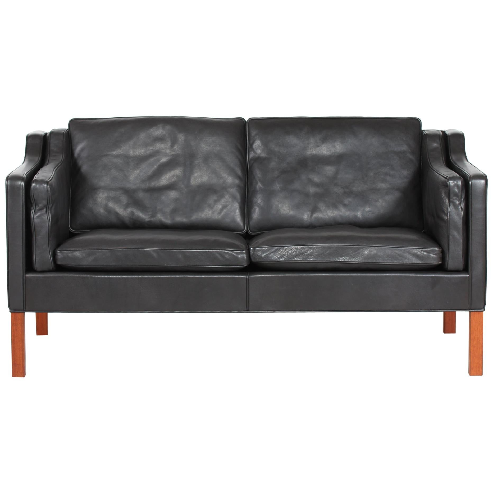 Børge Mogensen Sofa 2212 with Black Leather by Fredericia Stolefabrik, 1981