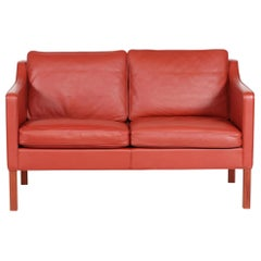 Børge Mogensen Sofa 2322 with Red Brown Leather by Fredericia Furniture, 1995