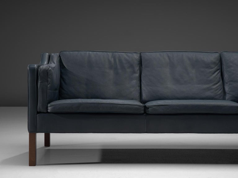 B 248 Rge Mogensen Sofa In Navy Leather For Sale At 1stdibs
