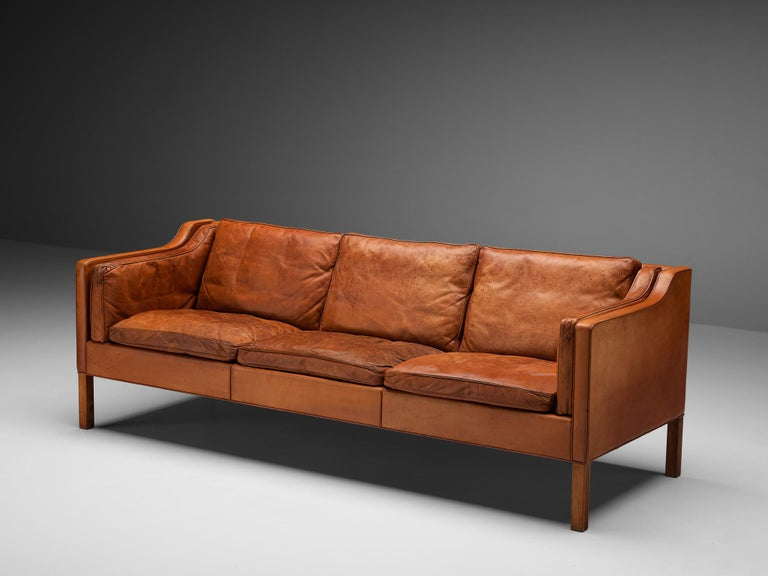 Danish Børge Mogensen Sofa Model 2213 in Cognac Leather For Sale