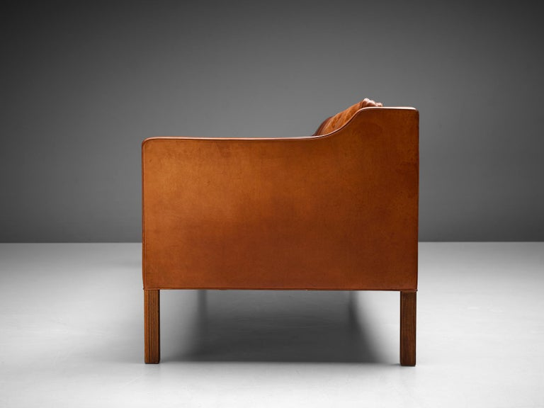 Stained Børge Mogensen Sofa Model 2213 in Cognac Leather For Sale