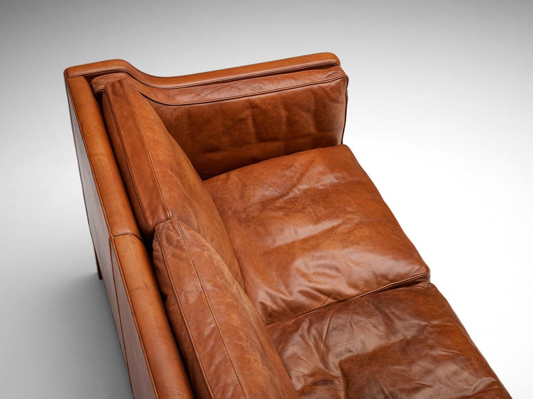 Mid-20th Century Børge Mogensen Sofa Model 2213 in Cognac Leather For Sale
