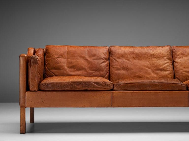 Oak Børge Mogensen Sofa Model 2213 in Cognac Leather For Sale
