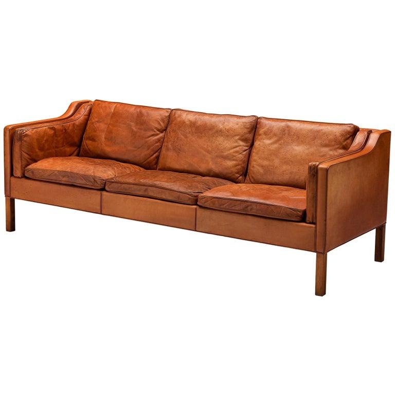 Børge Mogensen Sofa Model 2213 in Cognac Leather For Sale