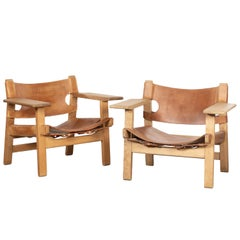 "Børge Mogensen ""Spanish"" Chair in Cognac Leather and Oak for Fredericia, Denmark"