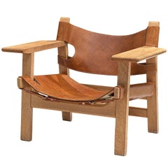 Børge Mogensen Spanish Chair in Oak and Cognac Leather
