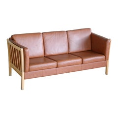 Børge Mogensen Style Three-Seat Spoke-Back Sofa in Cognac Leather