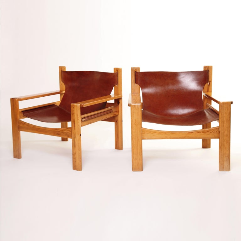 Danish Mid-Century Modern Børge Mogensen Tan Saddle Lounge Leather Armchairs, 1950s  For Sale