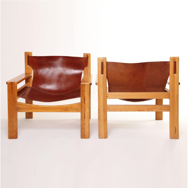 Mid-Century Modern Børge Mogensen Tan Saddle Lounge Leather Armchairs, 1950s  In Good Condition For Sale In  London, GB