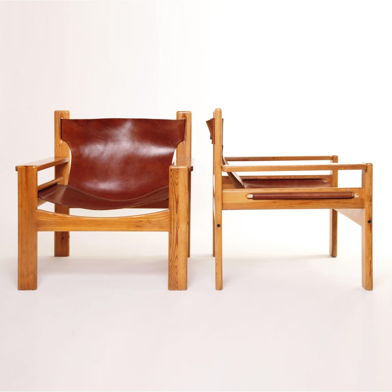 Mid-20th Century Mid-Century Modern Børge Mogensen Tan Saddle Lounge Leather Armchairs, 1950s  For Sale