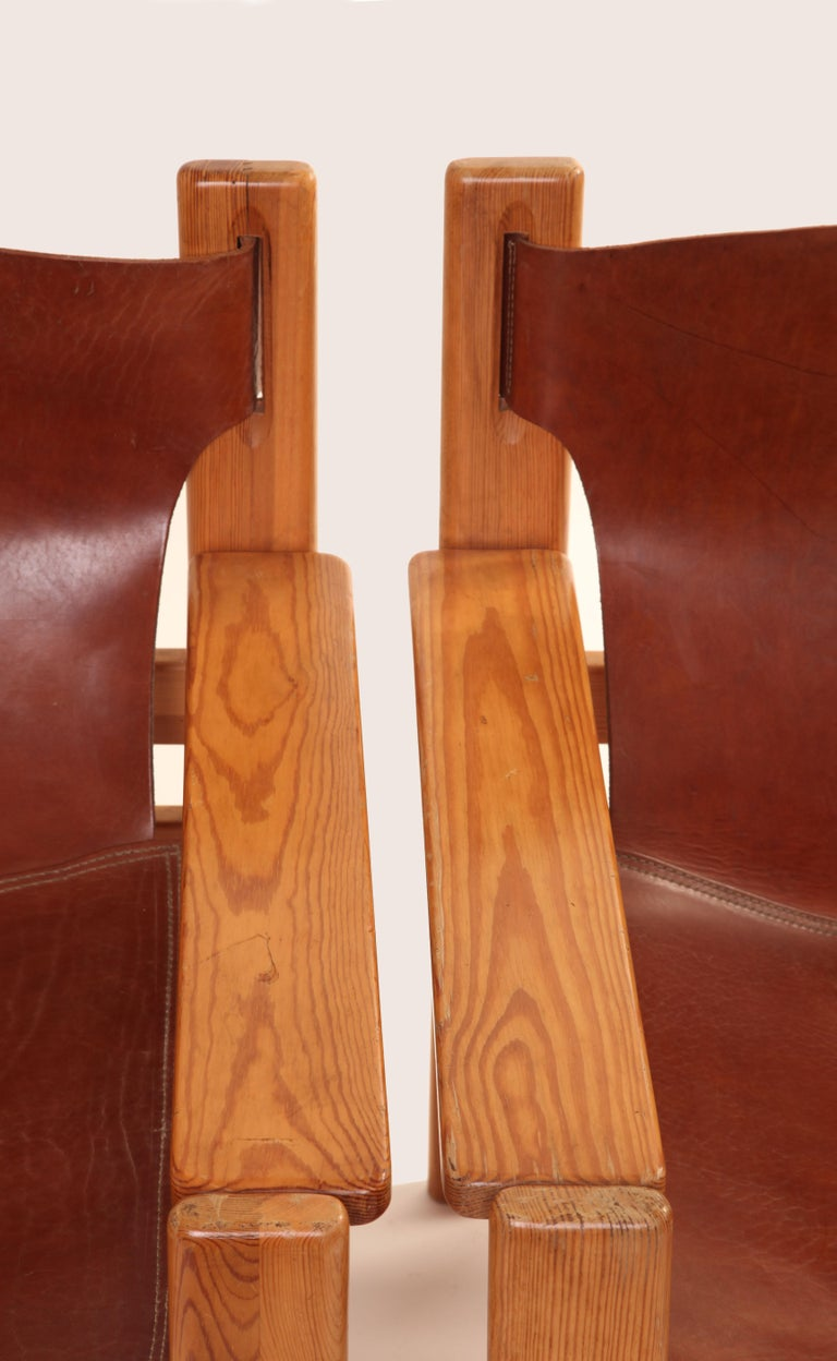 Mid-Century Modern Børge Mogensen Tan Saddle Lounge Leather Armchairs, 1950s  For Sale 3