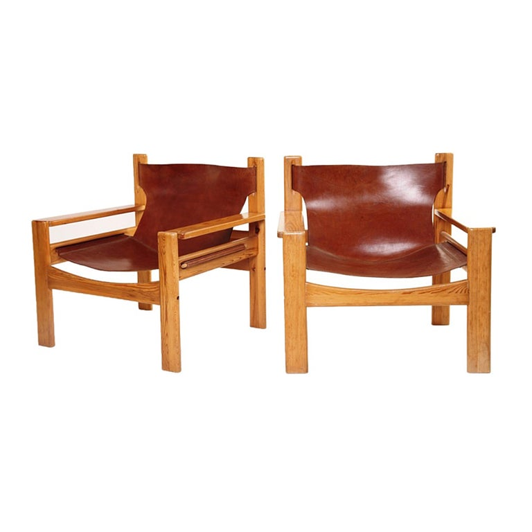 Mid-Century Modern Børge Mogensen Tan Saddle Lounge Leather Armchairs, 1950s  For Sale
