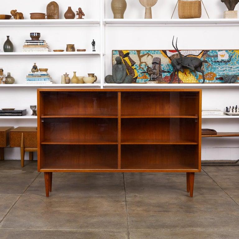 Mid-Century Modern Børge Mogensen Teak Bookcase with Sliding Glass Doors