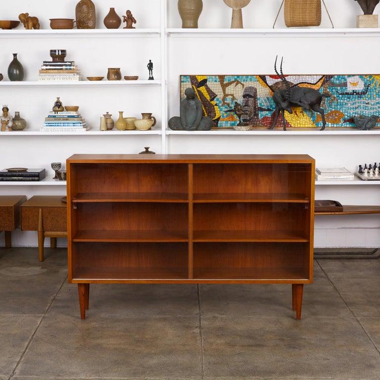 Danish Børge Mogensen Teak Bookcase with Sliding Glass Doors