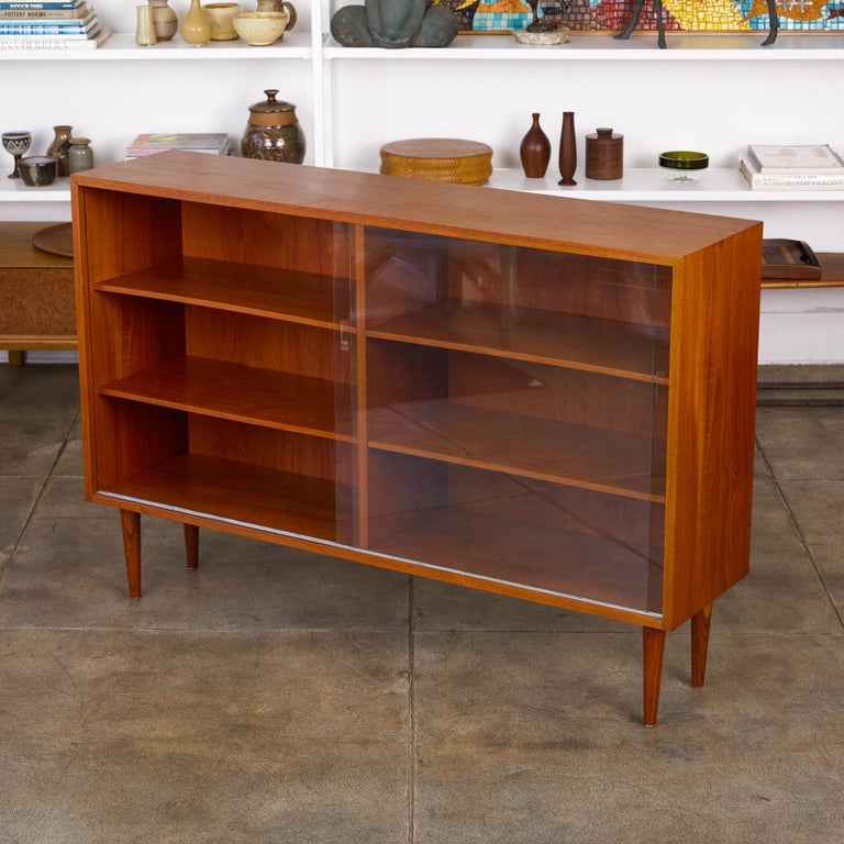 Børge Mogensen Teak Bookcase with Sliding Glass Doors In Excellent Condition In Los Angeles, CA