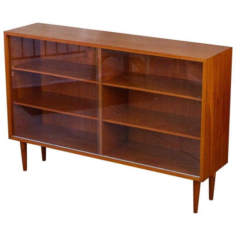 Børge Mogensen Teak Bookcase with Sliding Glass Doors