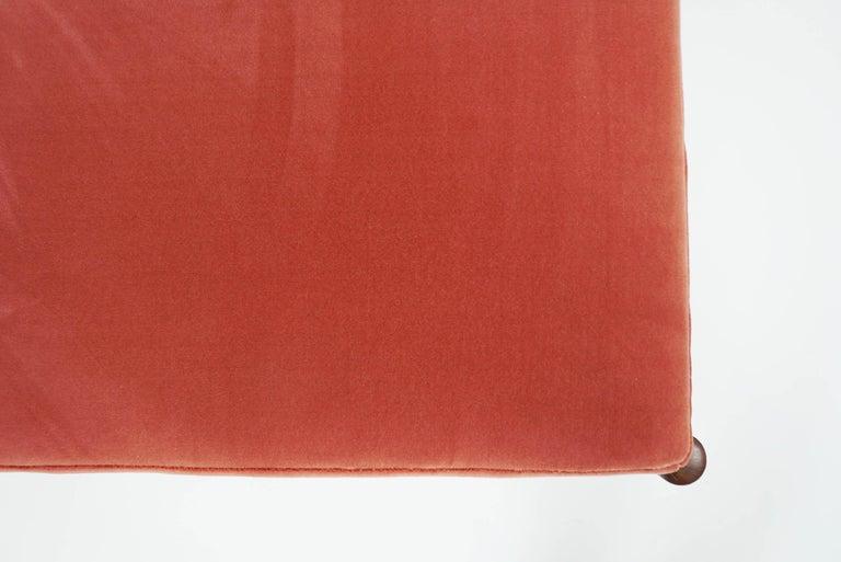 Upholstery Børge Mogensen Teak Day Bed, 1958 Denmark, in New Deep Salmon Rose Velvet For Sale