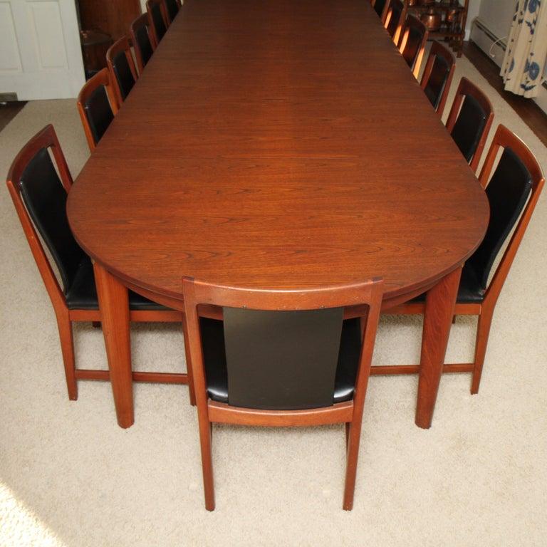 Børge Mogensen Teak Dining Table with 14 David Rosen Chairs, 1960s, Sweden For Sale 4