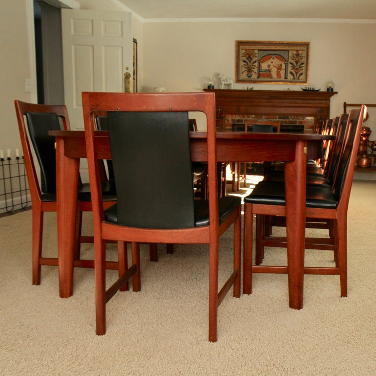 Børge Mogensen Teak Dining Table with 14 David Rosen Chairs, 1960s, Sweden For Sale 6