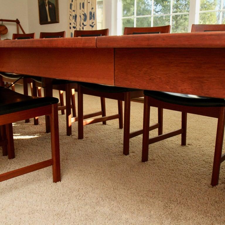 Swedish Børge Mogensen Teak Dining Table with 14 David Rosen Chairs, 1960s, Sweden For Sale