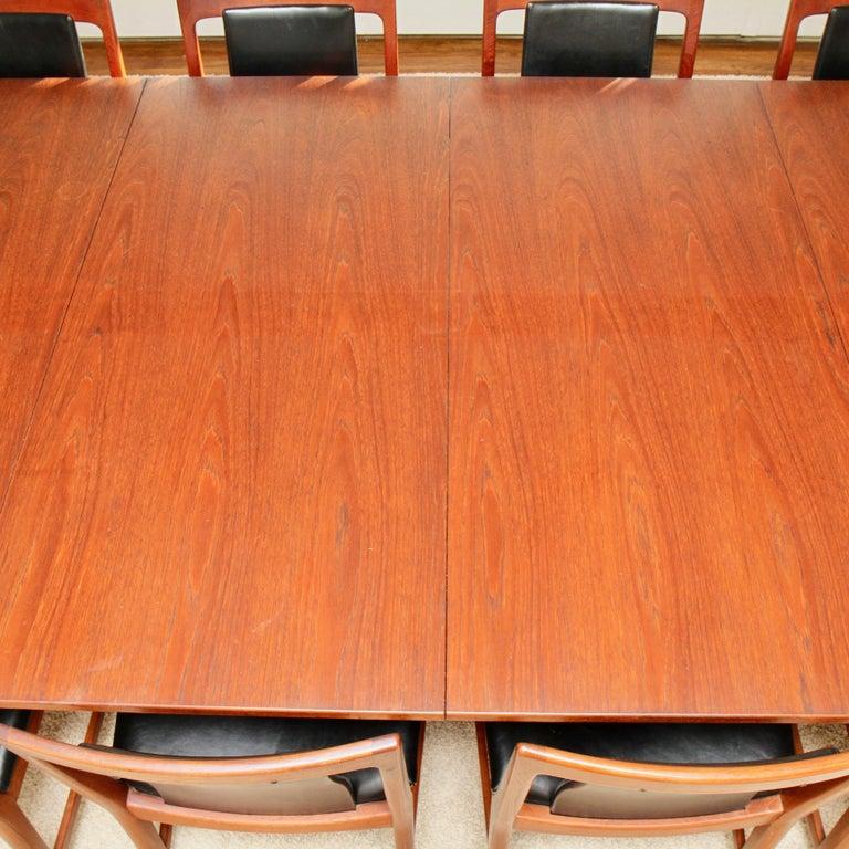 Børge Mogensen Teak Dining Table with 14 David Rosen Chairs, 1960s, Sweden For Sale 2