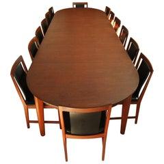 Børge Mogensen Teak Dining Table with 14 David Rosen Chairs, 1960s, Sweden