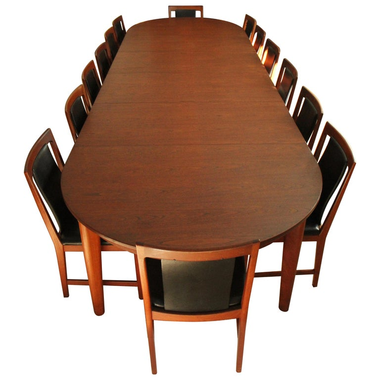 Børge Mogensen Teak Dining Table with 14 David Rosen Chairs, 1960s, Sweden For Sale