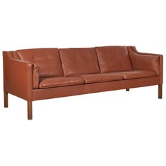 Børge Mogensen Three-Seat cognac Leather Sofa Model 2213 for Fredericia, Denmark