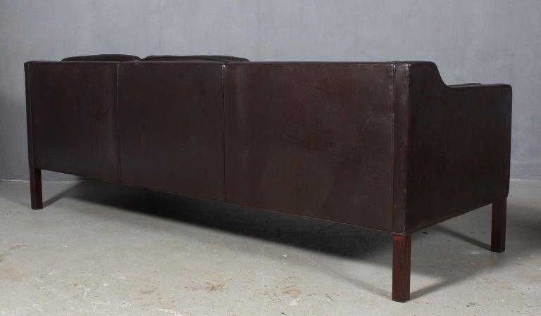 Leather Børge Mogensen Three-Seat Sofa For Sale